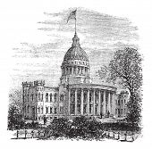 Wisconsin State Capitol in Madison, US, during the 1890s, vintage engraving. Old engraved illustration of Wisconsin State Capitol. Trousset encyclopedia (1886 - 1891). poster