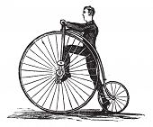 Penny-farthing or High Wheel Bicycle, showing how to mount the bicycle by stepping on the pedal, vintage engraved illustration. Trousset encyclopedia (1886 - 1891). poster