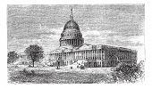 United States Capitol, in Washington, D.C., USA, vintage engraved illustration. Trousset encyclopedia (1886 - 1891). poster
