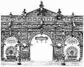 Decorative door of Metallurgy in the central gallery, vintage engraved illustration. Paris - Auguste VITU 1890 poster