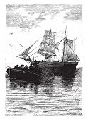 Sleep well! cried the last time the captain, vintage engraved illustration.  Jules Verne, a 15 year old captain.  poster