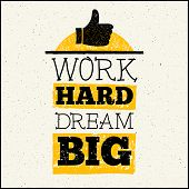 Vector design hipster illustration with phrase Work hard dream big poster