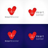 Heart centre logo. Vector design, the logotype of cardiology clinic. Icons idea of healthcare, hospitals, tests, clinics, pharmacies. Healthy hearts cardiowaves. Heartbeats graph, tick of love sign. poster