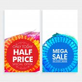 Creative Mega Sale website banner set with Half Price Offer on Every Brand.  poster