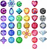 Set of colored gems isolated on white background, vector illustration poster