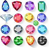 Flat style long shadow set of colored gems isolated on white background, vector illustration poster