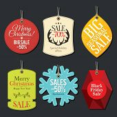 Retail Sale Tags and Clearance Tags. Festive christmas design poster