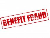 Rubber stamp with text benefit fraud inside vector illustration poster