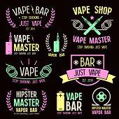 Vapor bar and vape shop logo and e-cigarette icons. Color print on black background poster