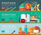 Vector flat design concepts of education. Horizontal banners with school items. Back to school concepts for web and promotional materials. Education school icons set. poster