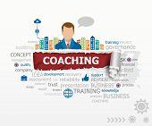 Coaching word cloud concept and business man. Coaching design illustration concepts for business consulting finance management career. poster
