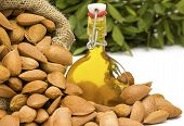 Fresh Organic Almond Oil in a glass swing top bottle showing picked almonds in a hessian sack with greenery in the blurred background often used for cooking therapy cosmetics and well being. Room for copy space and text. poster