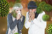 Couple sneezing in tissue against autumn scene poster