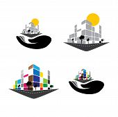vector icon - building of home apartment super market or office space. This graphic can also represent urban commercial structures hotels super centers banks skylines skyscrapers etc poster