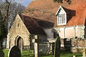 sussex country church surrounded by ancient tombs poster