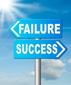 success or failure being successful in life and business road sign arrow poster
