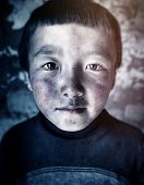 Mongolian Boy Portrait Innocent Culture Poverty Concept poster