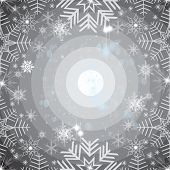 Abstract snowflakes background on black. Beautiful and modern poster