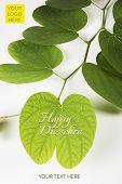 indian festival dussehra, showing golden leaf or Bauhinia racemosa leaf, greeting card poster