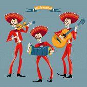 Dia de Muertos. Mariachi band of skeletons. Mexican tradition. Vector illustration poster