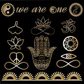 Yoga logo, yoga icons, mystic spiritual symbols, gold lines tattoo set: Buddha hand, Ying Yang symbol, Lotus flower, Infinity sign, Peace and love symbol, Ohm sign, Ginkgo leaf Metallic gold lines poster