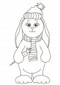 Rabbit with a carrot in a winter cap and a warm scarf, contours poster
