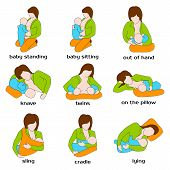 Poses for breastfeeding. Woman breastfeeding a child in different poses. Baby standing, sling, twins, on the pillow, baby sitting, out of hand. Woman breastfeeding twins. Vector illustration. poster