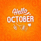 Abstract Autumn Design. Floral Pattern. Hello October poster