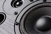 Multimedia speaker system with different speakers closeup over black background poster