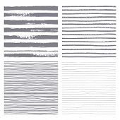 Brush stripes vector seamless pattern. Set of thin and thick lines. Vector texture. Brush drawn - rough artistic edges. Isolated silhouette strip. Four variations of the striped backgrounds. poster