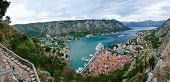 Beautiful panoramic view from above on Boka Kotorska Bay Montenegro poster