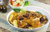 baked chicken with fungus potato and leaf laurel poster