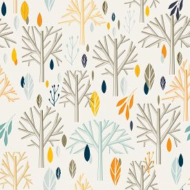 Leaves branches pattern in retro style.