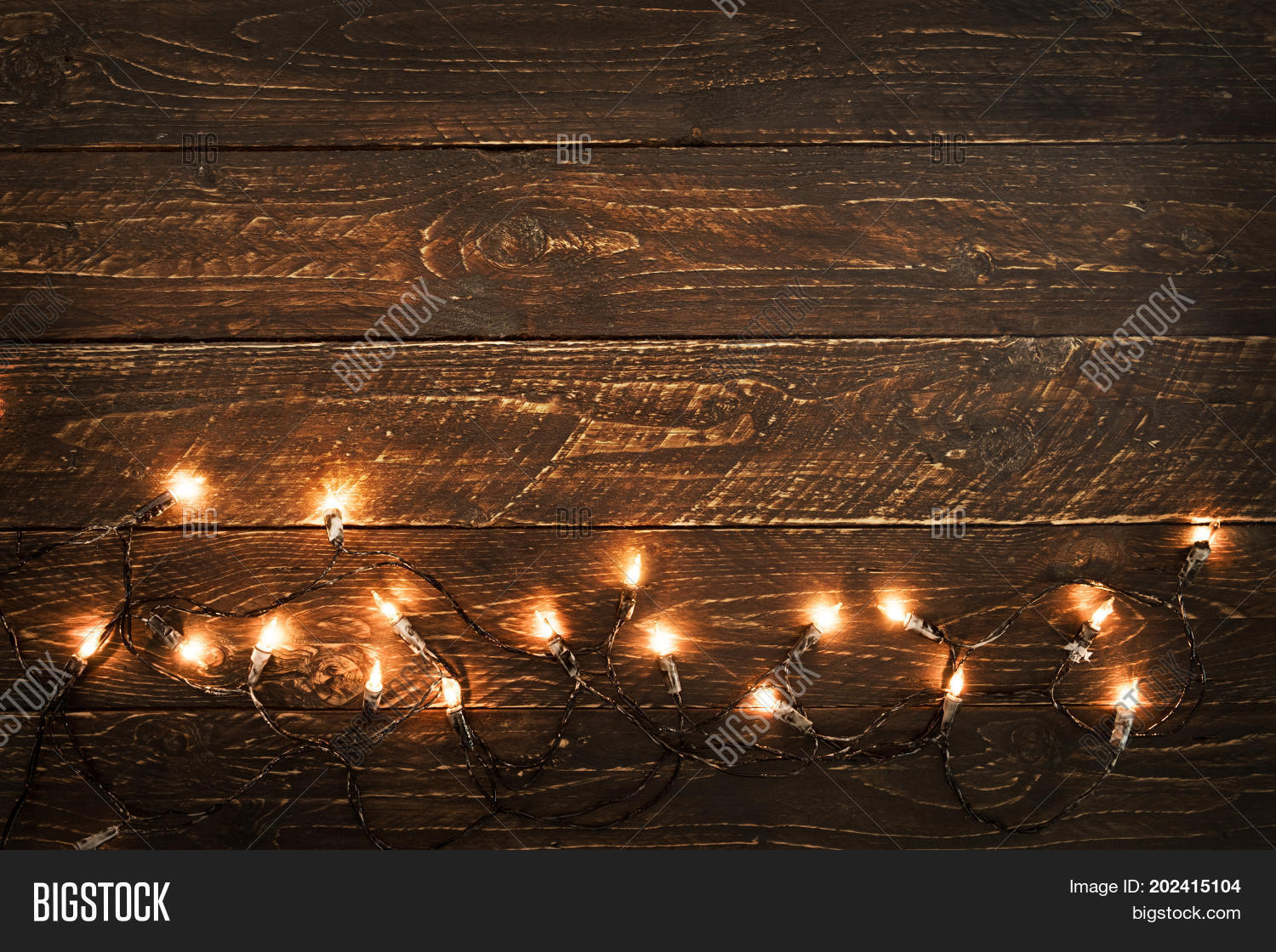 Christmas Lights Bulb On Wood Table Merry Xmas Background Topview Border