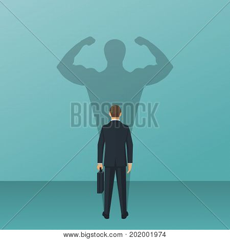 Confident power. Businessman in suit standing in front wall with shadow successful business leadership, isolated on background. Career strength. Shadow of strong man. Vector illustration flat design.