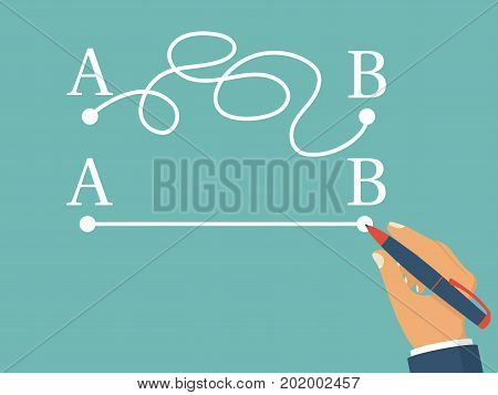Man holding  pen in hand leads a drawing line from point A to point B. Vector illustration flat design. Isolated on background. Straight and complicated path. Concept of problems and solutions.