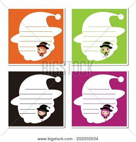 Cute colorful witch girls on witch hat frame vector cartoon illustration for halloween memo paper design, planner paper set and kid stationery paper