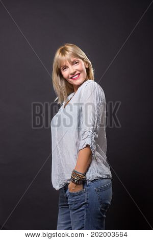Cheerful Mature Woman 40S Casual Clothes Shirt Jeans