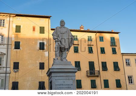LUCCA, ITALY - MAY 23, 2017: Statue of Giuseppe Garibaldi in Lucca. Garibaldi was an Italian general, politician and nationalist who played a large role in the history of Italy