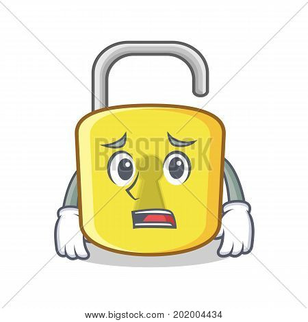 Afraid yellow lock character mascot vector illustration