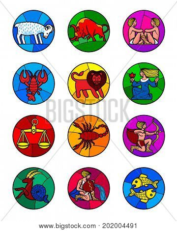 Round icon set of colorful zodiac symbols isolated on white. Horoscope icons in stained-glass window style