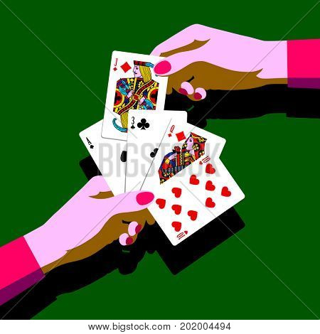 Woman's hands with playing cards fan. Pop art stylized drawing