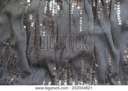 Folded Black Polyester Net Like Spangled Textile