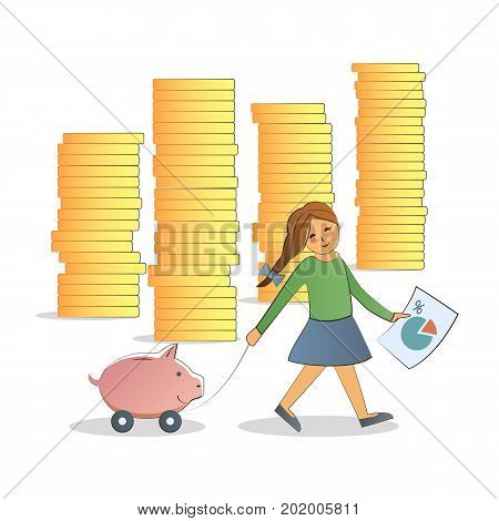 Business training, education. Illustration flat line design infographics elements. Visual metaphor of modern financial education. Financial literacy concept. A girl carries a piggy Bank.