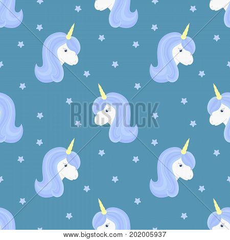 Seamless pattern with cute unicorn and stars. Beautiful unicorn head with blue mane and horn. Vector illustration.
