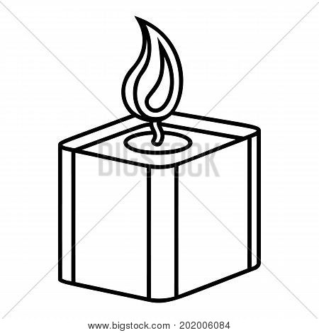 Square candle icon. Outline illustration of square candle vector icon for web