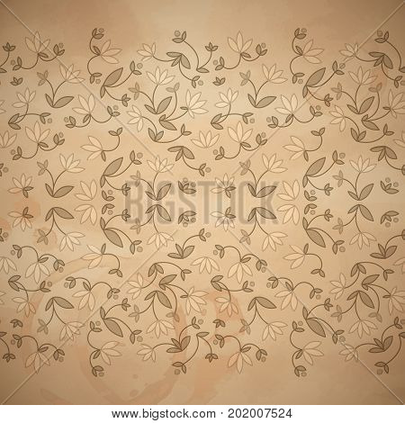 Flowery floral seamless pattern with natural flowers leaves on light background vector illustration