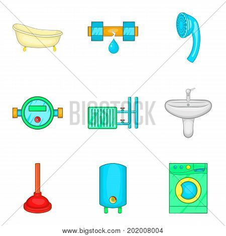 Bathroom icons set. Cartoon set of 9 bathroom vector icons for web isolated on white background