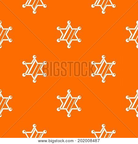 Sheriff star pattern repeat seamless in orange color for any design. Vector geometric illustration