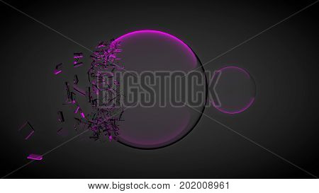 Two balls, one of them broken, with splinters. With red light. 3D render.